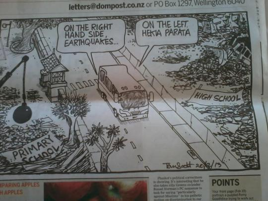 Dom Post quake hekia cartoon