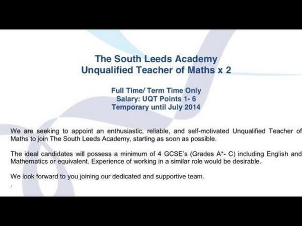 unqualified maths teachers