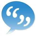 speech marks blue bubble
