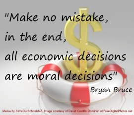 All economic decisions are moral decisions Bryan Bruce